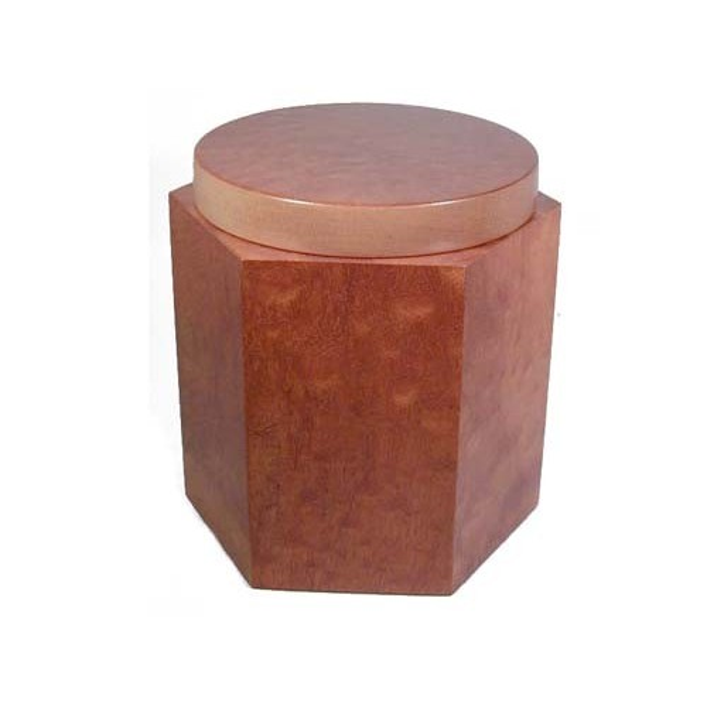 Vaso porta tabacco esagonale in mogano pomelè
