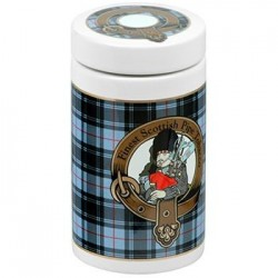 Ceramic Tobacco jar - Scottish tartan grey color