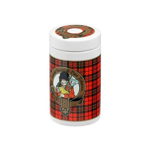 Ceramic Tobacco jar - Scottish tartan red color