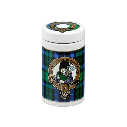 Ceramic Tobacco jar - Scottish tartan green color