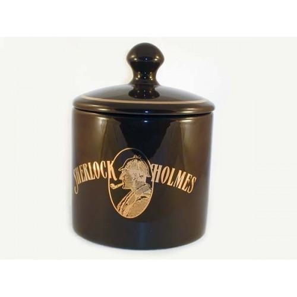 Cylindrical S.Holmes Ceramic Tobacco jar - dark brown