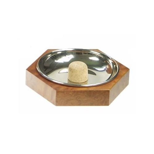 Hexagonal pipe ashtray - mahogany nickel plated