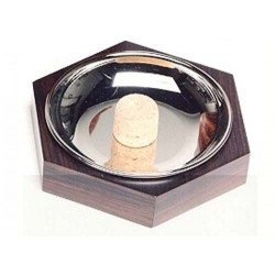 Hexagonal pipe ashtray - palisander nickel plated