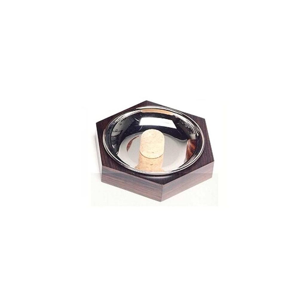 Hexagonal pipe ashtray - palisander nickel plated