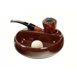 Ceramic ashtray with pipe rest brown