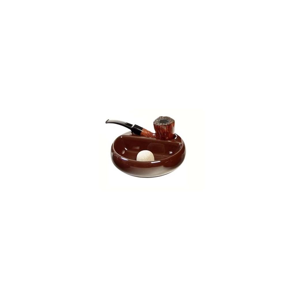 Cenicero por pipa con reposa pipa en cerámica marrón