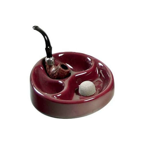Ceramic ashtray with pipe rest for 3 pipes - bordeaux