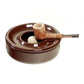 Cendrier à pipe en céramique marron avec couvercle