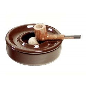 Cenicero por pipa con tapadera en cerámica marròn