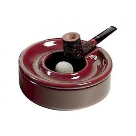 Cendrier à pipe en céramique bordeaux avec couvercle