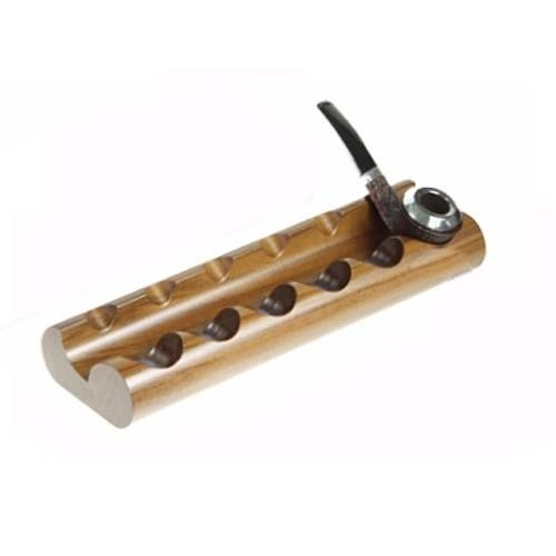 """Walnut pipe stand """"Round"""" for 6 pipes"""