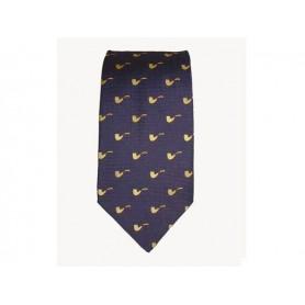 Cravate Castello en soie 100% - Bleu avec pipe jaune