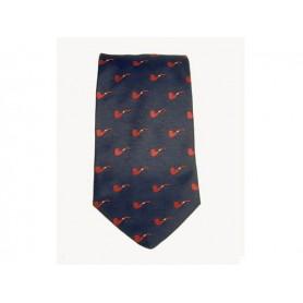 Cravate Castello en soie 100% - Bleu avec pipe rouges
