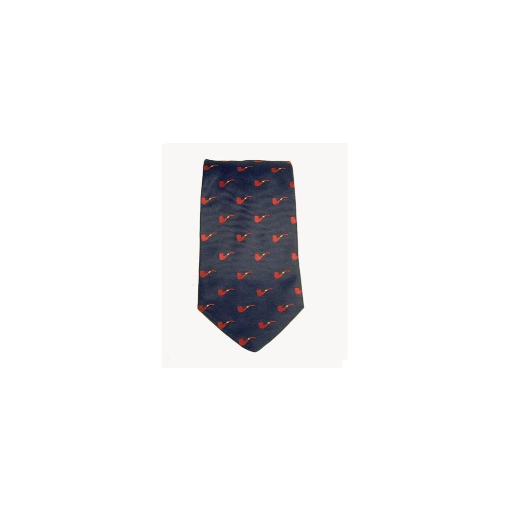Cravatta Castello 100% Seta - Blu con pipe rosse