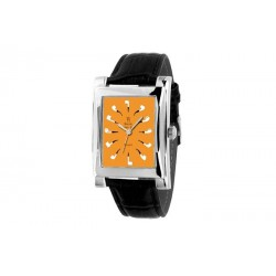 Quartz Clock orange with black strap