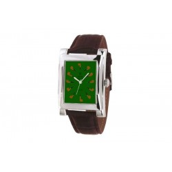 Quartz Clock green with brown strap
