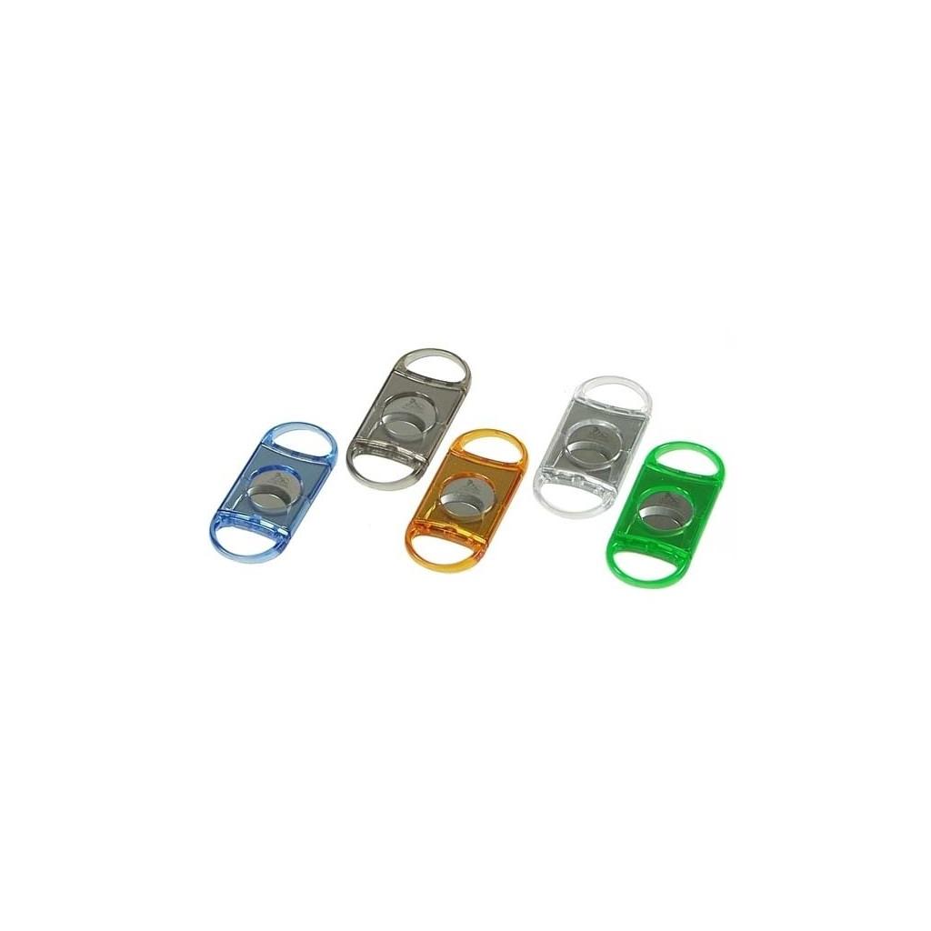 Cortacigarros de plástico transparente con doble hoja