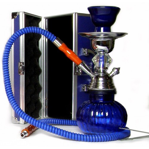 Shisha pipe h.25 cm with hard box - Blue