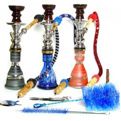 Shisha pipe h. 36 cm crystal chrome-colour bowl - Red / Black / Blue