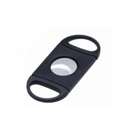 Cortacigarros de plástico negro con doble hoja