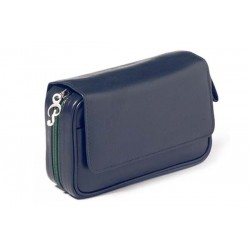 Trousse per 2 pipe Peterson Avoca nappa blu con interno verde
