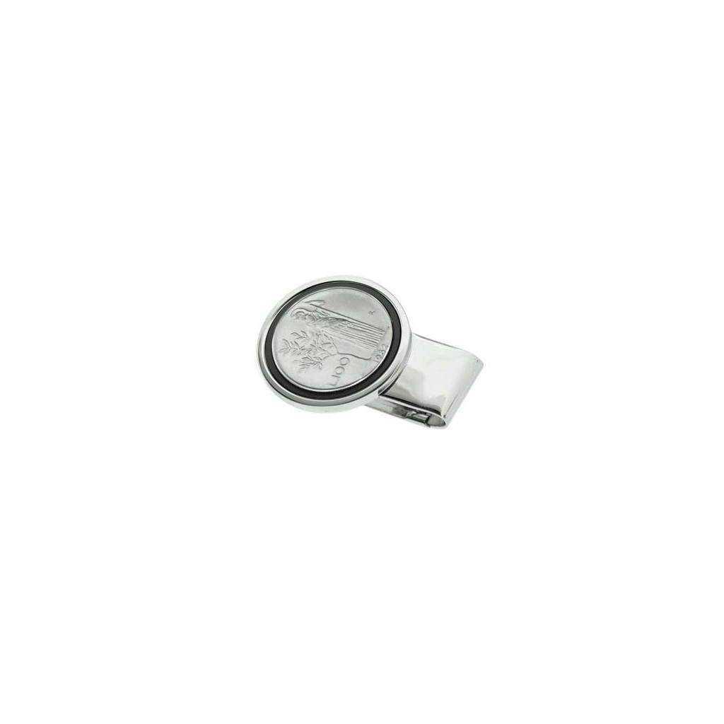 Silver plate Money clip - 100 Lire Minerva