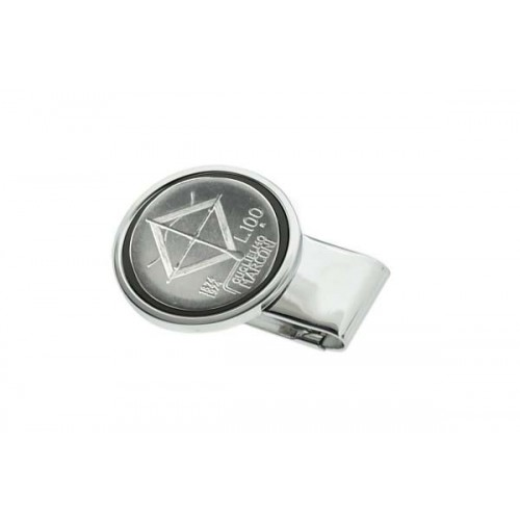Silver plate Money clip - 100 Lire Marconi