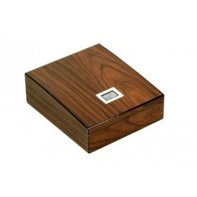 Caves en bois de noix avec plateau et hygromètre digital