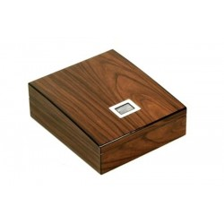 Shaped humidor in walnut polished with tray and digital higro
