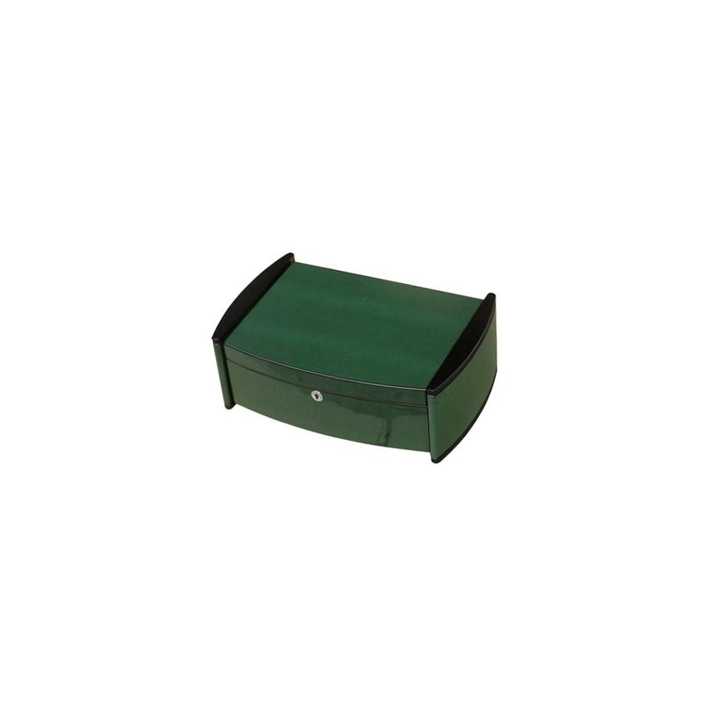 "Humidor ""Catamaran"" in Lizard verde lucido con igrometro digitale"
