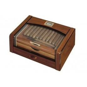 Humidor in noce lucido con 3 cassetti e igrometro digitale