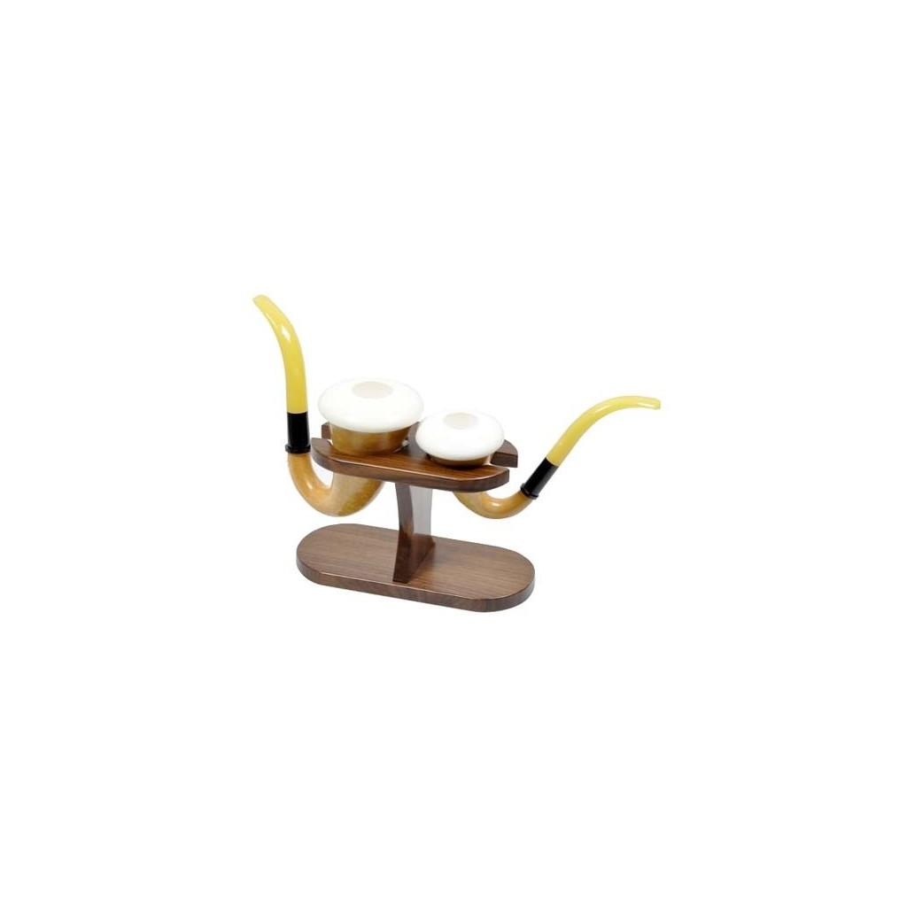 Walnut 2 Calabash pipe stand