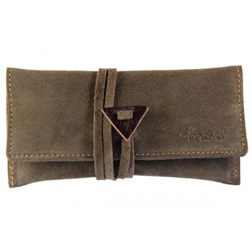 Leather tobacco pouch Mava - Brown Suede