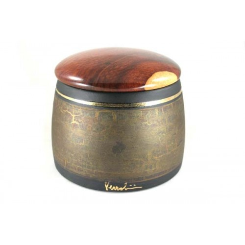 Arcadia tobacco jar - ceramics and amboina wood