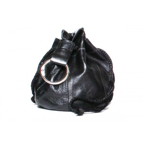 Black Leather tobacco pouch - for 100gr