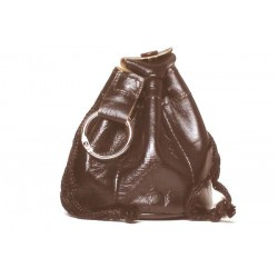 Dark brown Leather tobacco pouch - for 100gr