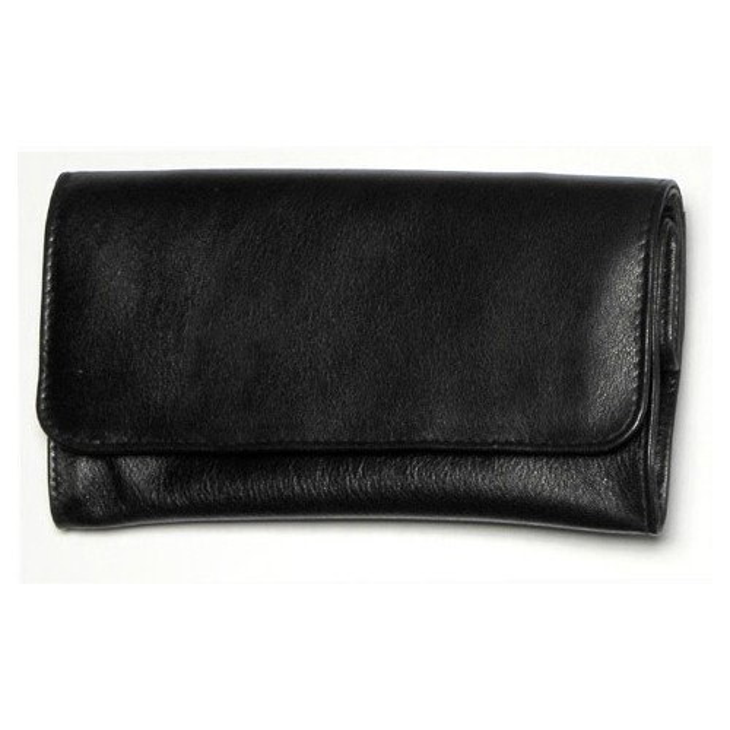 Portatabacco in nappa nera grande