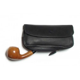 Borsa MPB in cuoio di bufallo all'anilina per pipa, tabacco e accessori - nero