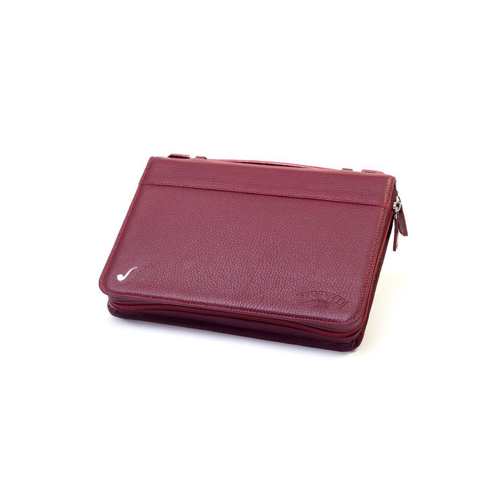 Bolsa en piel Savinelli para 3/4 pipas y accessorios - Bordeaux