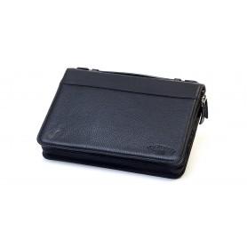 Bolsa en piel Savinelli para 3/4 pipas y accessorios - Negro