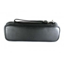 Savinelli Black Leather pouch for 2 churchwarden pipes, tobacco and accessories