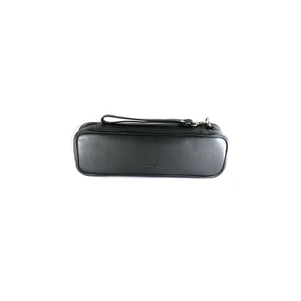 Bolsa en piel negra Savinelli para 2 pipas churchwarden y accessorios