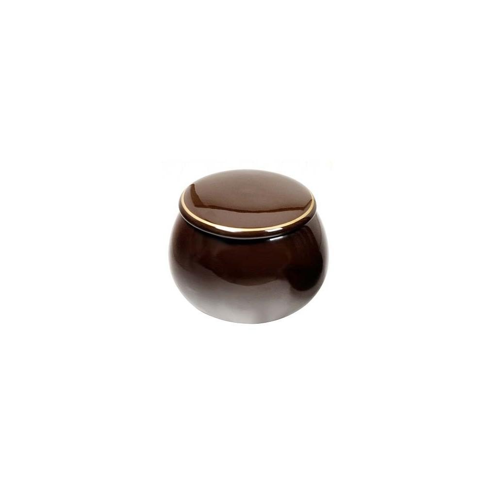 """Vaso porta tabacco """"Palla"""" in ceramica marrone"""