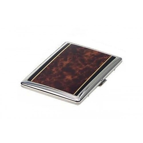 Flat rounded cigarette case silver plate - tartle laque
