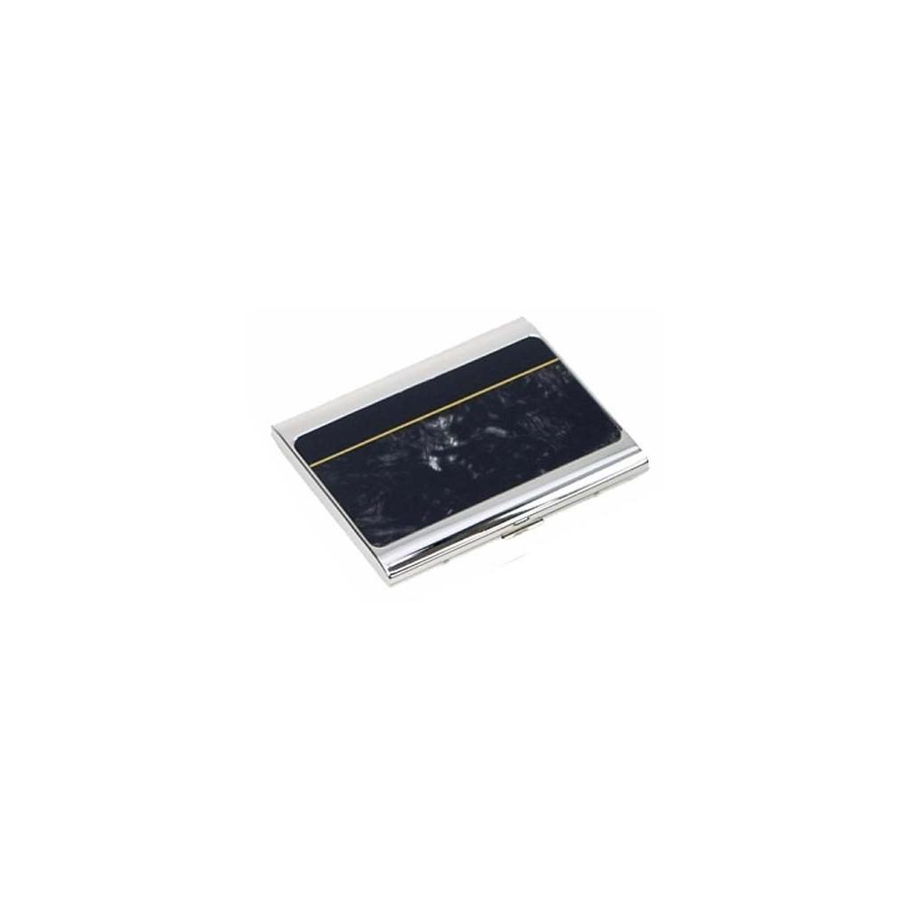 Portasigarette placcato argento - lacca grigia con banda nera