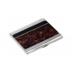 Cigarette case silver plate - tartle laque with black band
