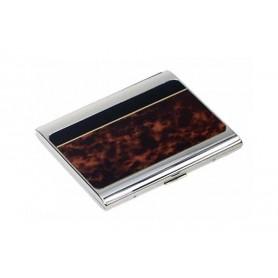 Estuche para cigarrillos silver plate laca tortuga/negro
