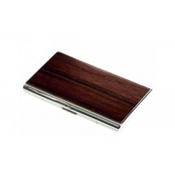 Flat rounded cigarette KS 100's case silver plate - wood