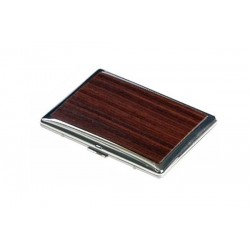 Flat rounded cigarette case silver plate - wood