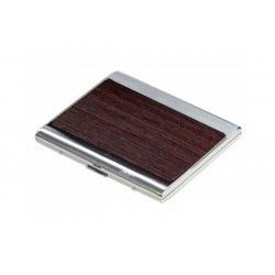 Flat big rounded cigarette case silver plate - wood